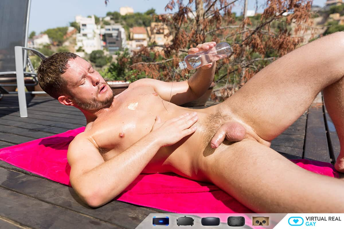 hot and wet gay man nude by the pool